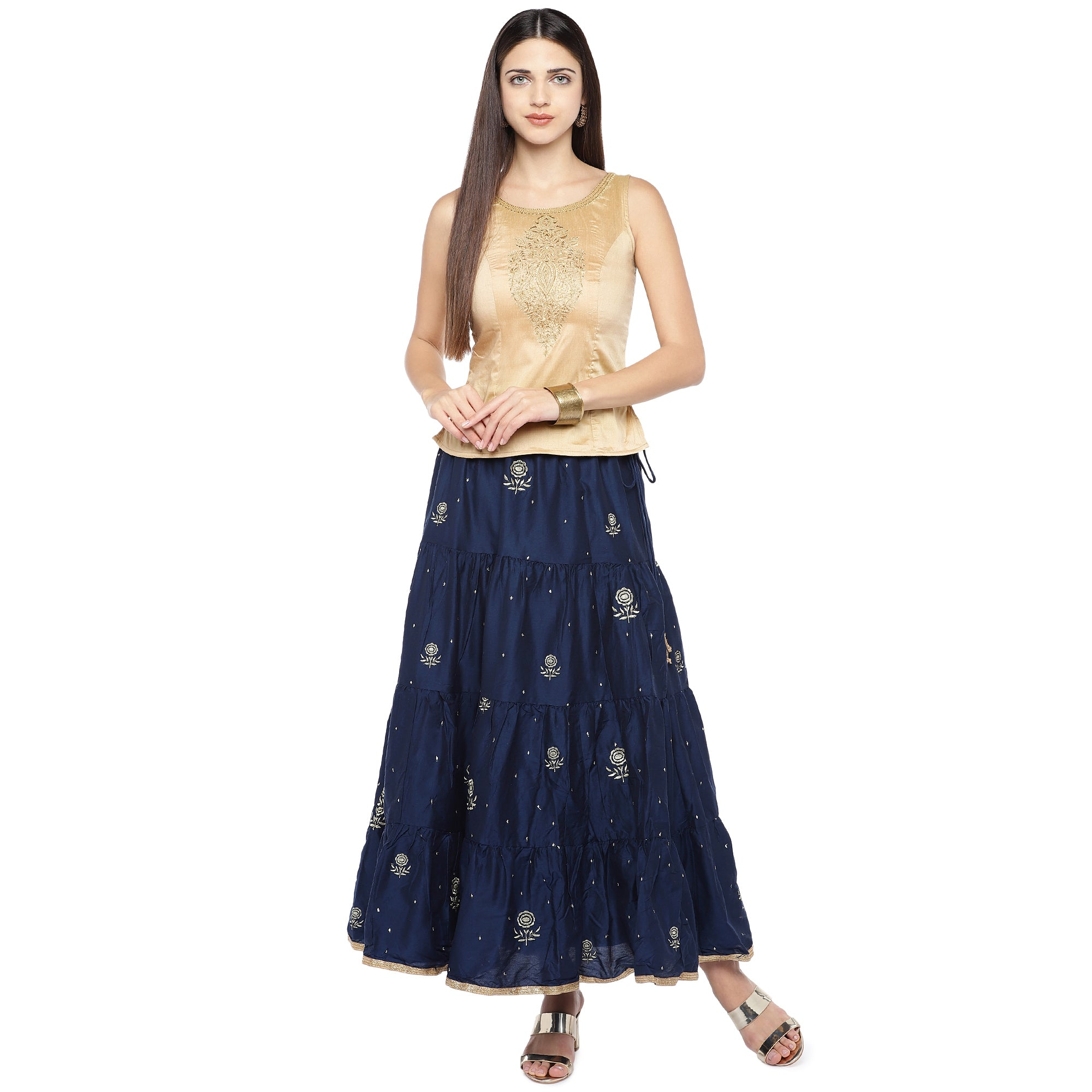 Navy Blue Embroidered Flared Maxi Ethnic Skirt-4