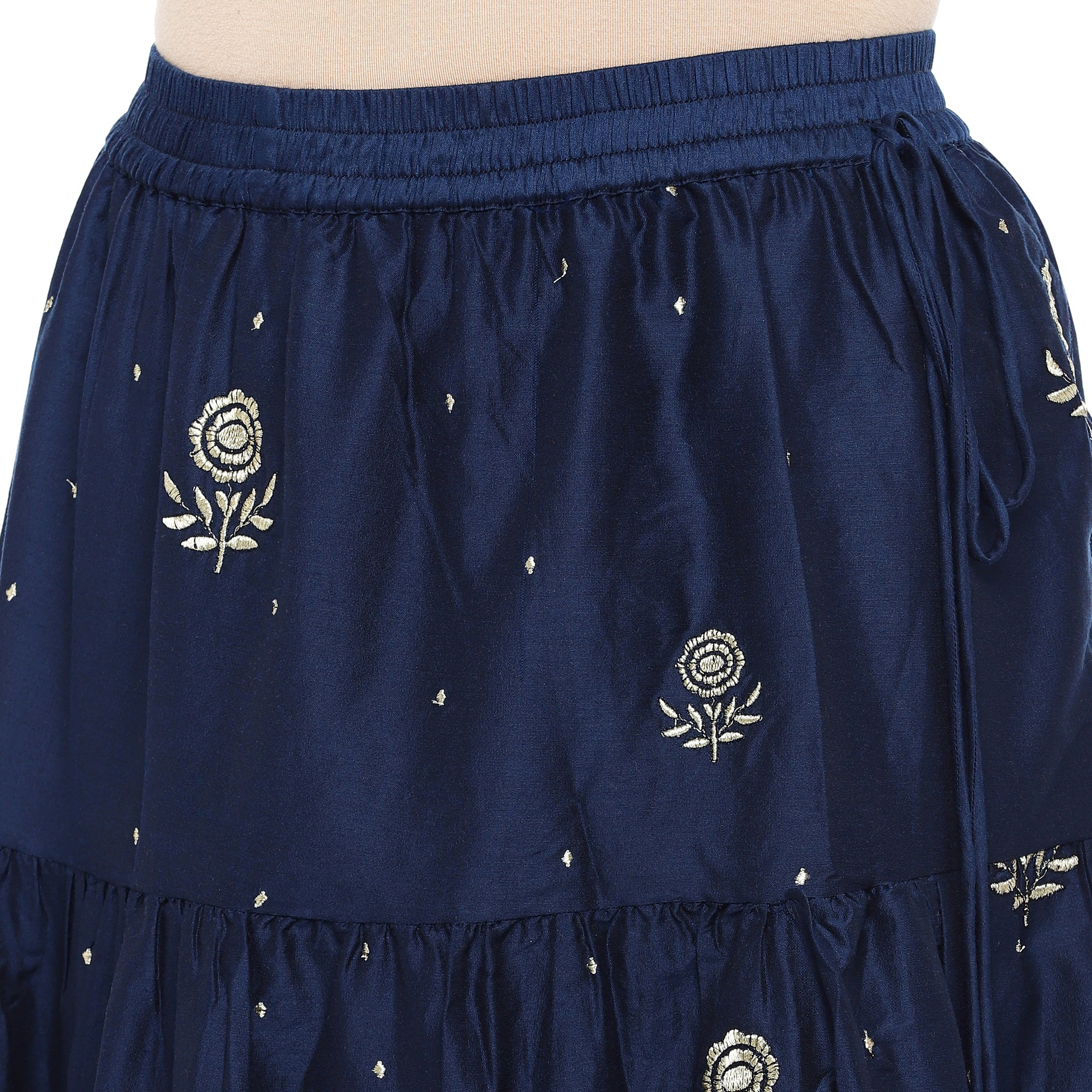 Navy Blue Embroidered Flared Maxi Ethnic Skirt-5