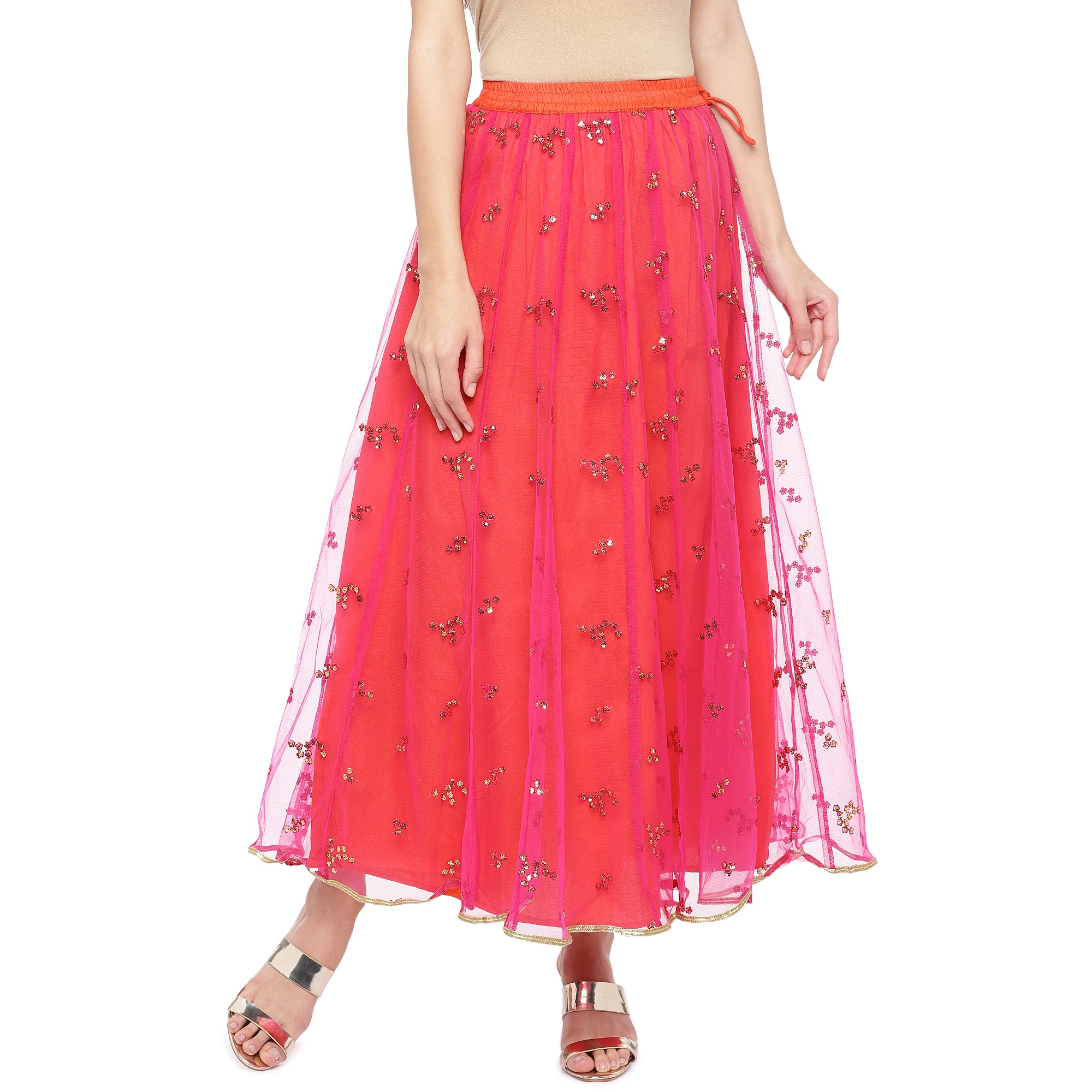 Coral Pink Embellished Flared Maxi Ethnic Skirt-1
