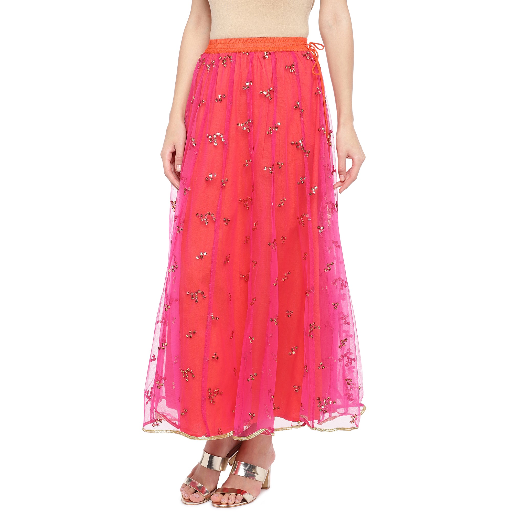 Coral Pink Embellished Flared Maxi Ethnic Skirt-2