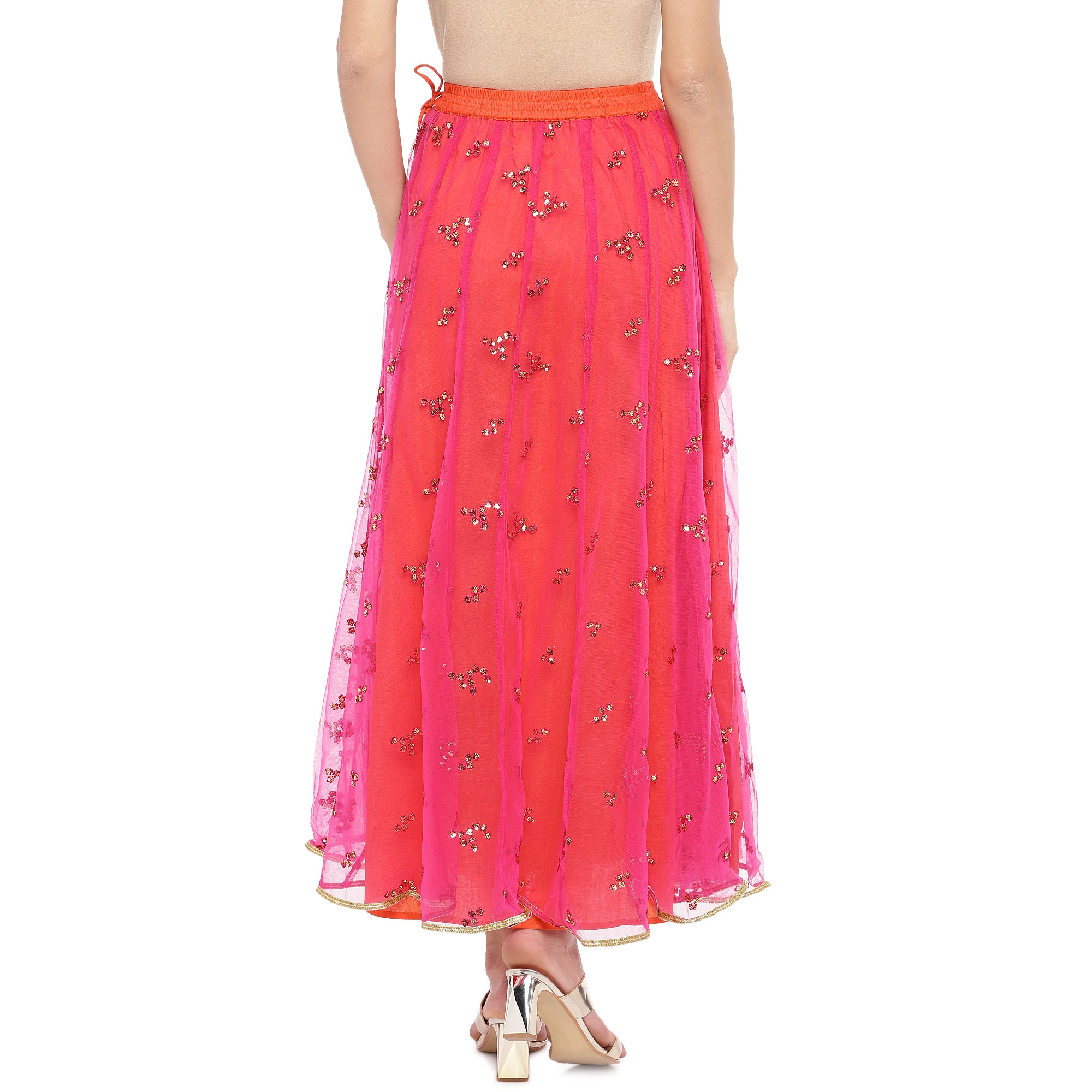 Coral Pink Embellished Flared Maxi Ethnic Skirt-3
