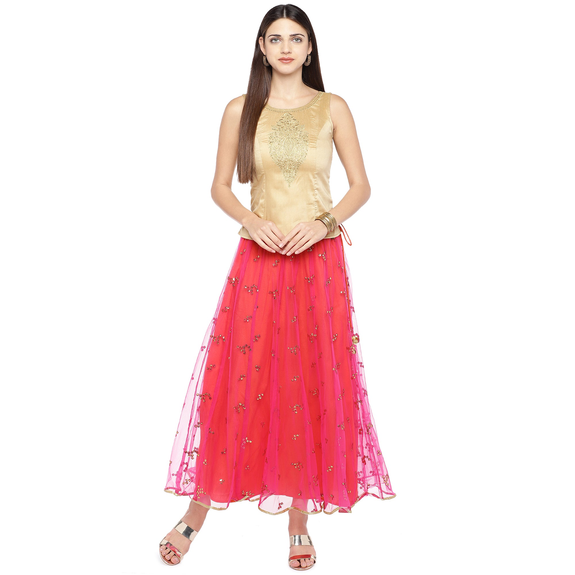 Coral Pink Embellished Flared Maxi Ethnic Skirt-4