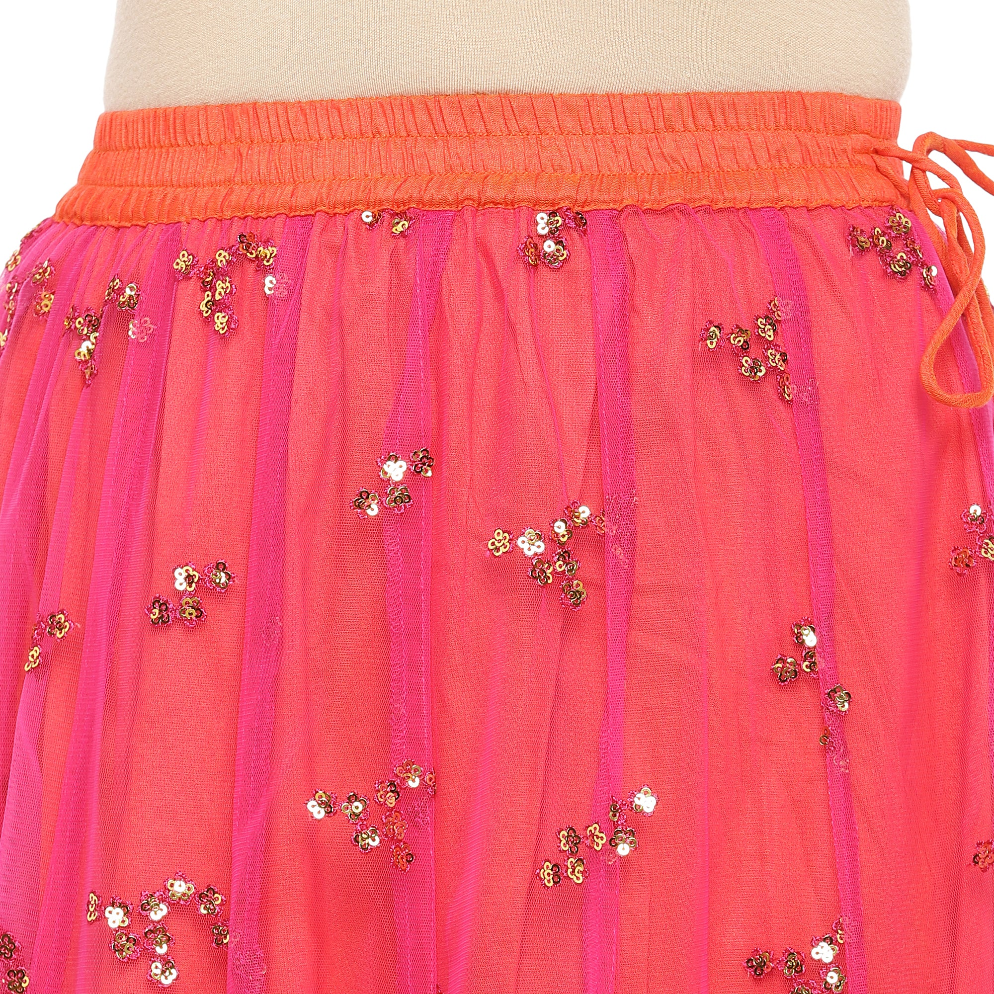 Coral Pink Embellished Flared Maxi Ethnic Skirt-5