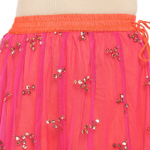 Load image into Gallery viewer, Coral Pink Embellished Flared Maxi Ethnic Skirt-5