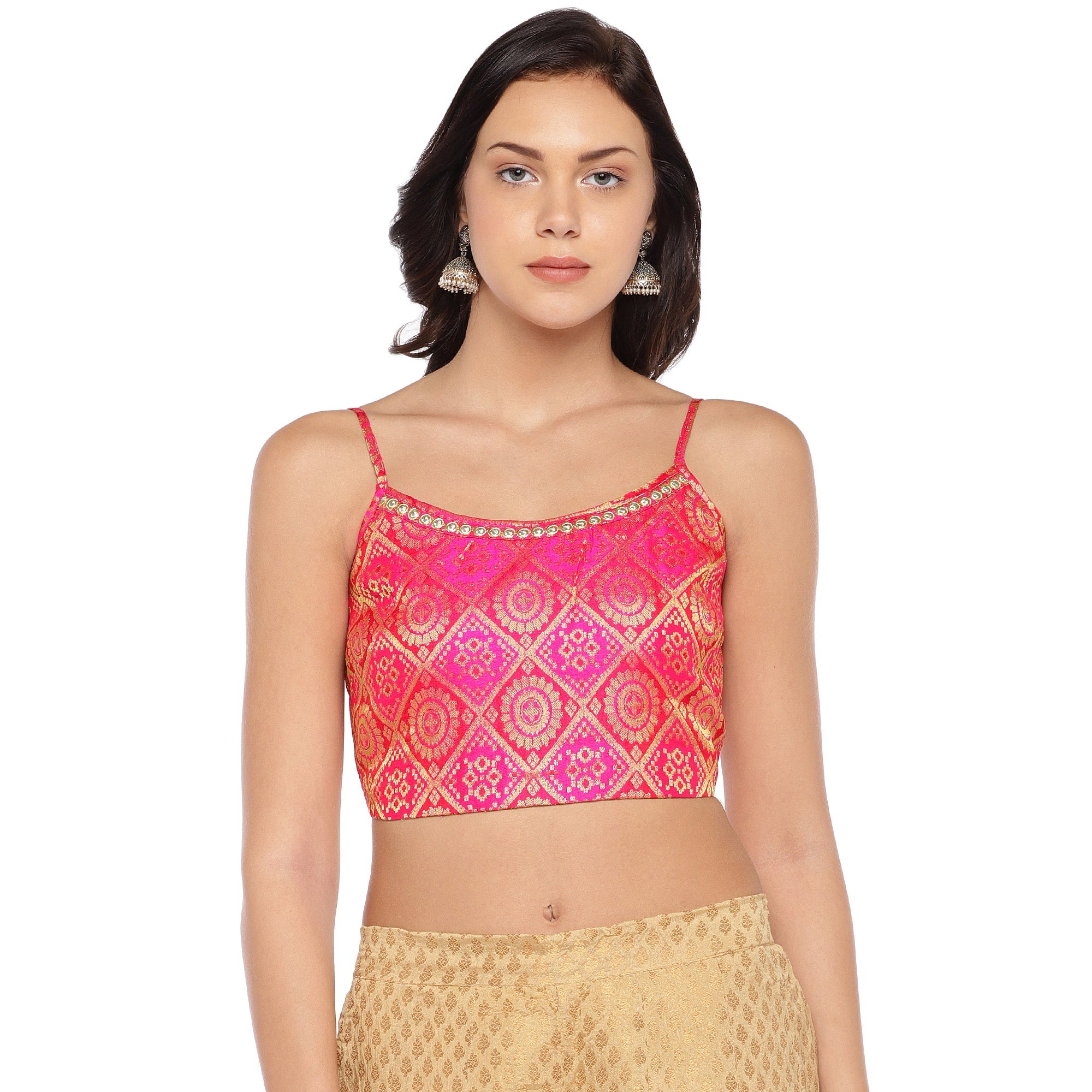 Pink Printed Crop Top-1