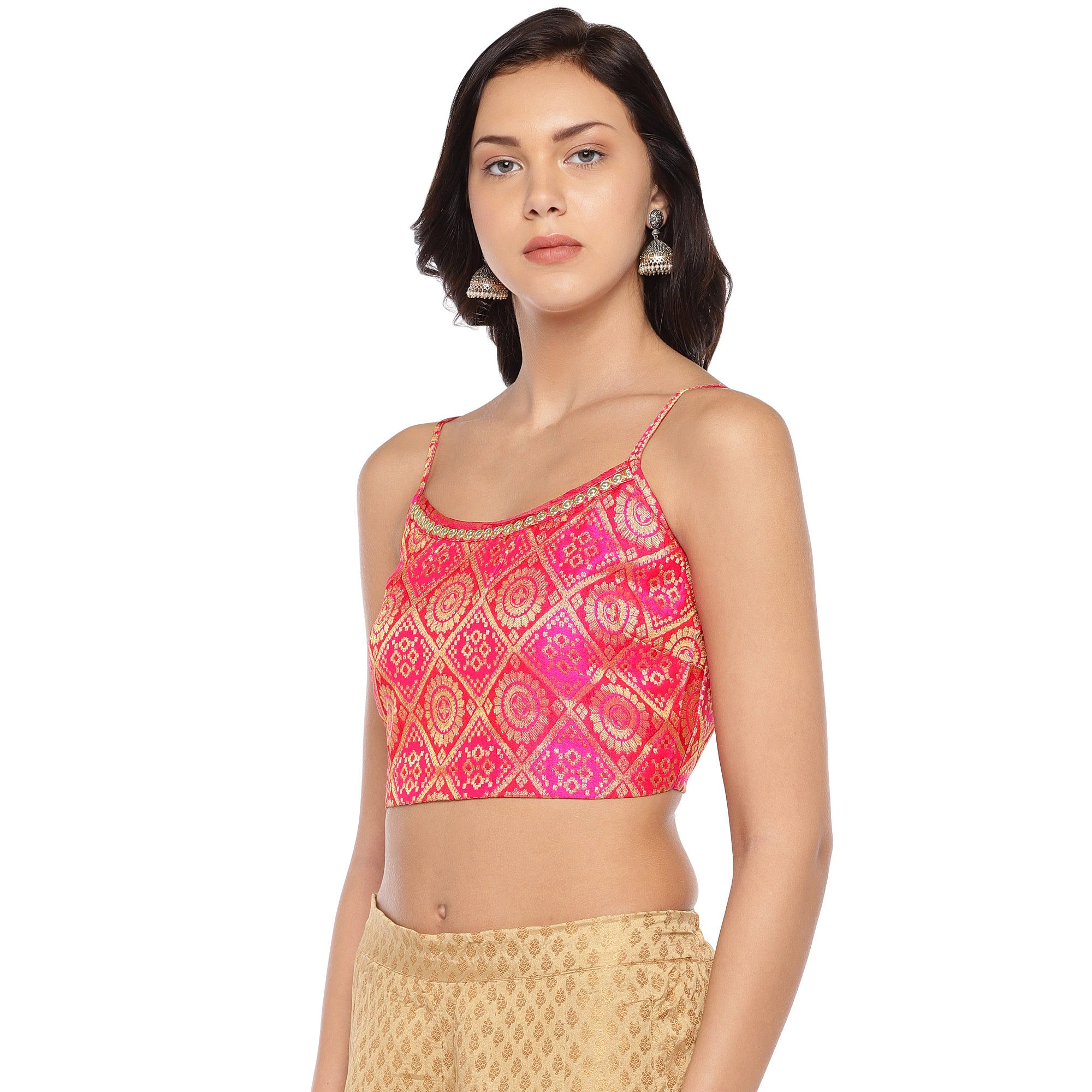 Pink Printed Crop Top-2