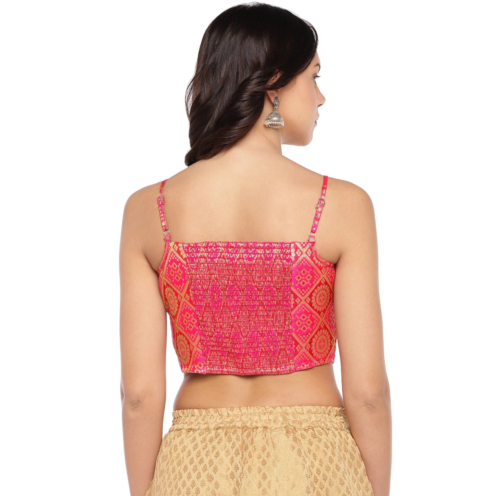 Pink Printed Crop Top-3