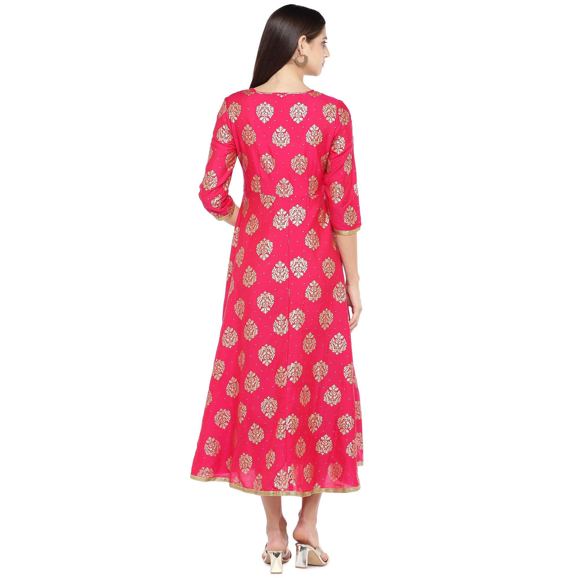 Fuchsia Pink Printed Empire Dress-3