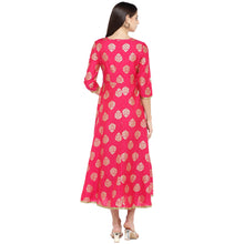 Load image into Gallery viewer, Fuchsia Pink Printed Empire Dress-3
