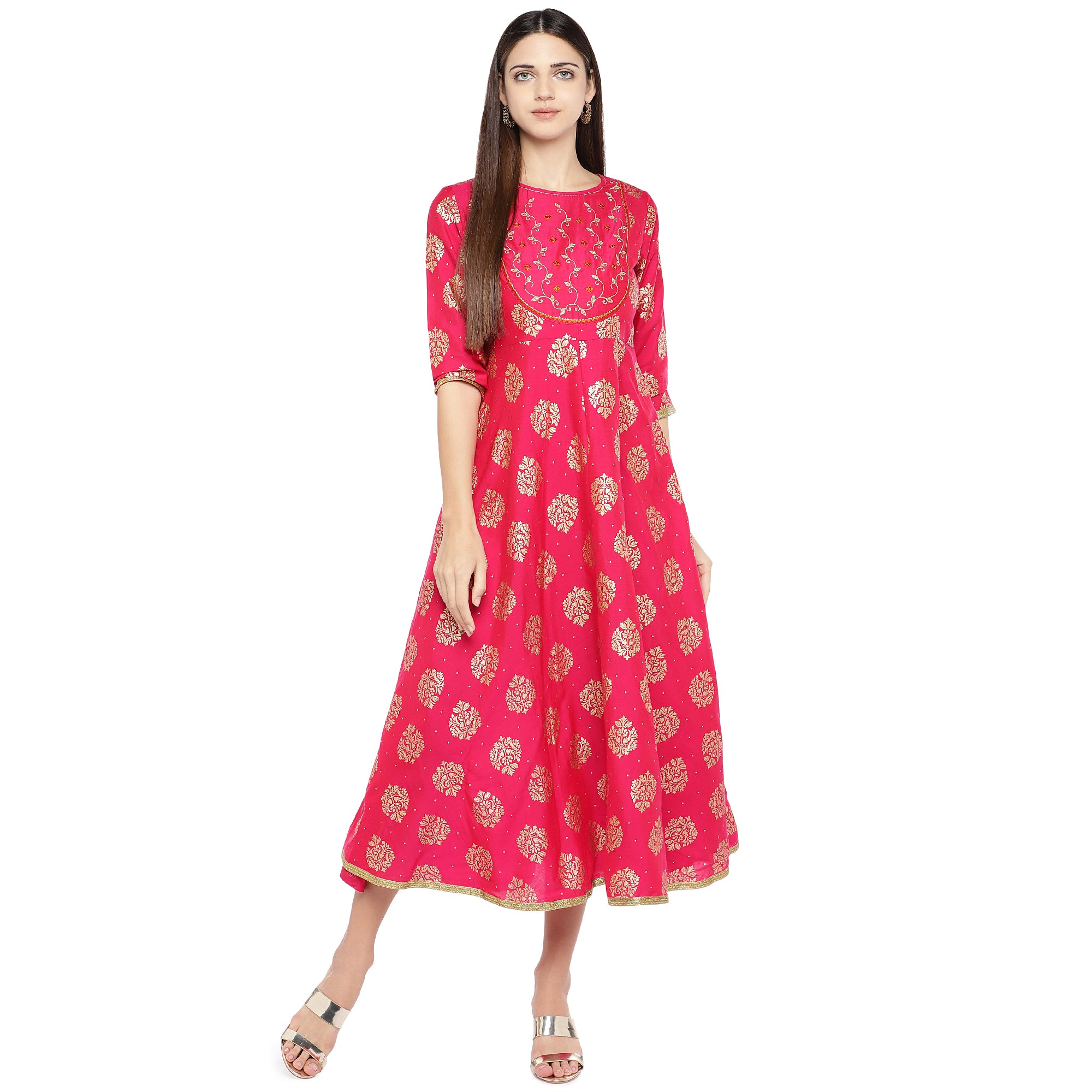 Fuchsia Pink Printed Empire Dress-4