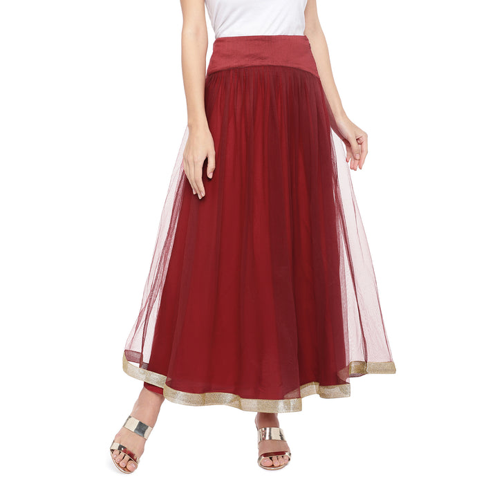 Maroon Solid Flared Maxi Ethnic Skirt-1