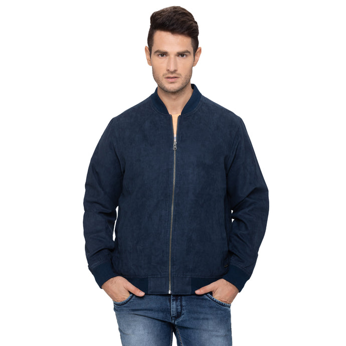 Globus Navy Blue Solid Jackets-1