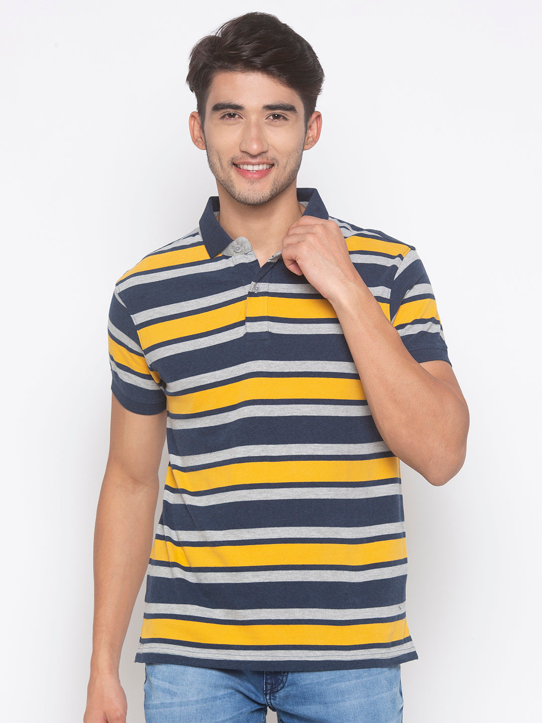 Globus Mustard & Navy Blue Striped T-Shirt-1