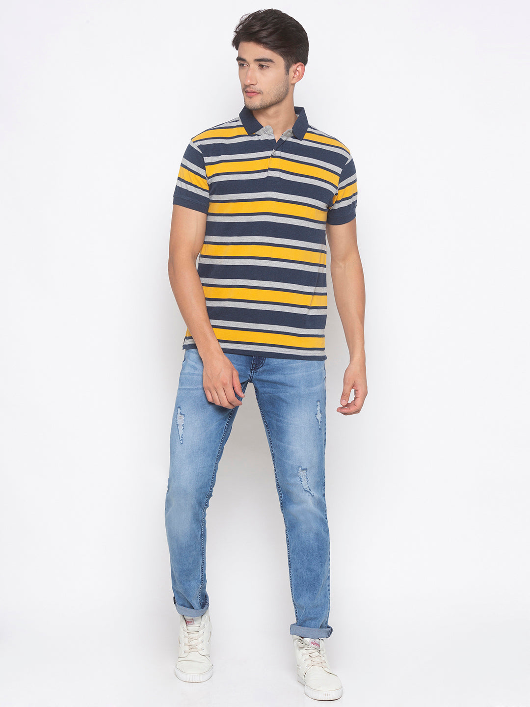 Globus Mustard & Navy Blue Striped T-Shirt-4