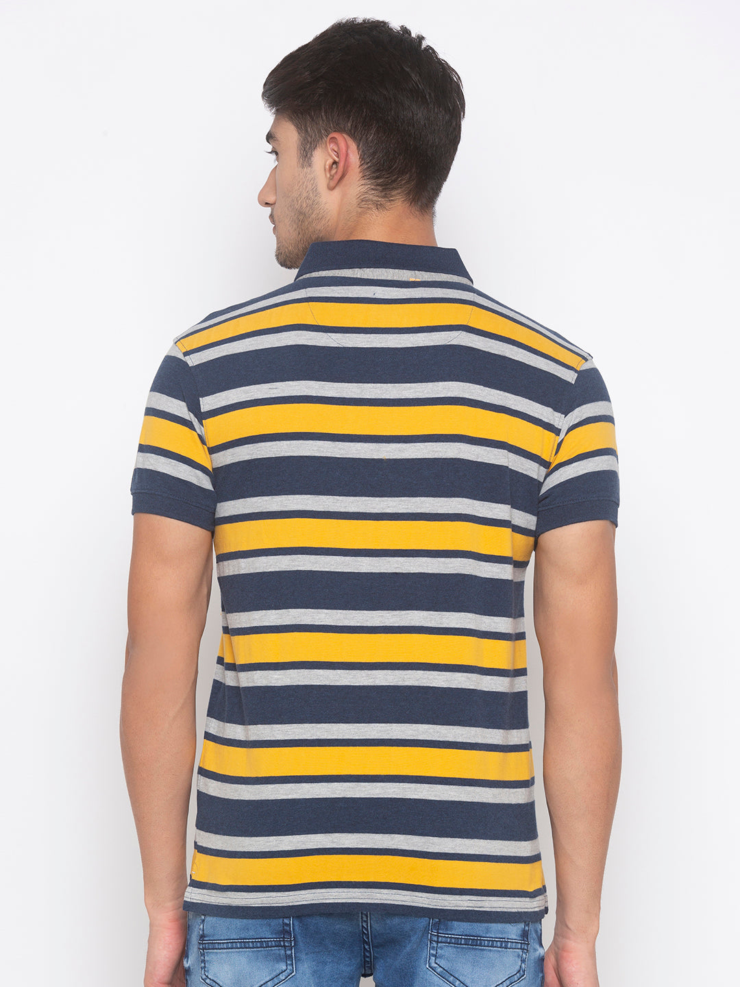 Globus Mustard & Navy Blue Striped T-Shirt-3
