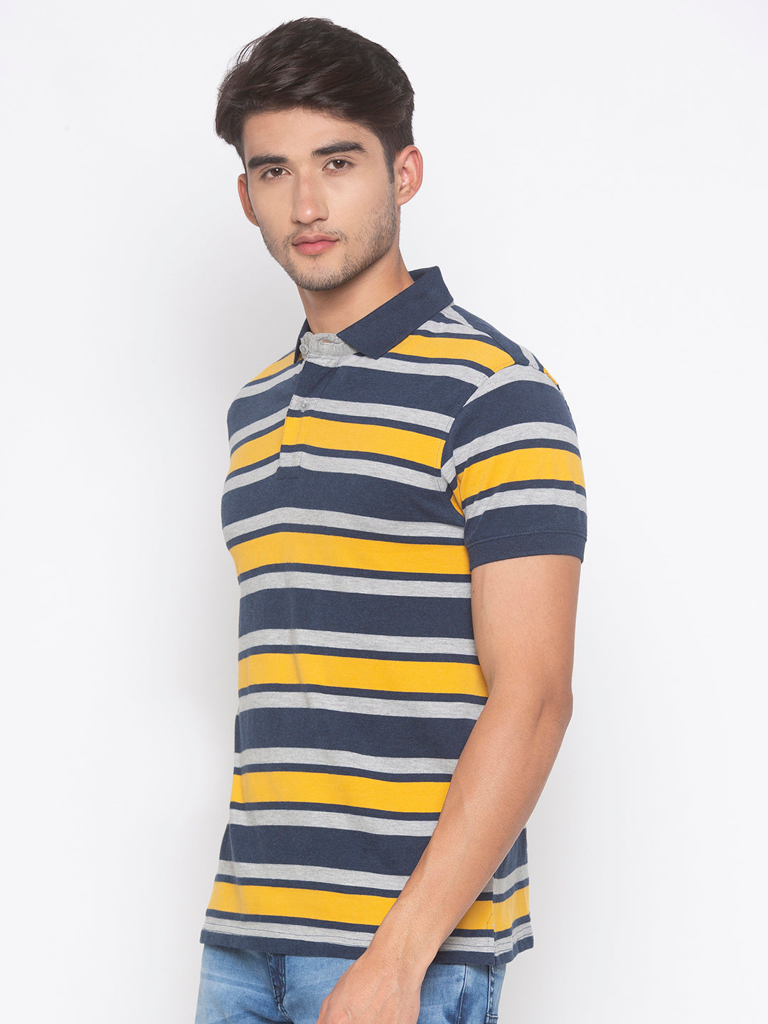 Globus Mustard & Navy Blue Striped T-Shirt-2