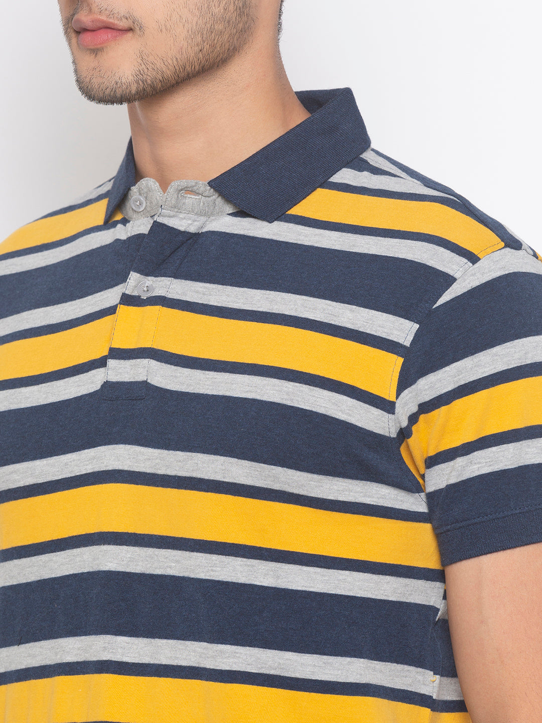 Globus Mustard & Navy Blue Striped T-Shirt-5