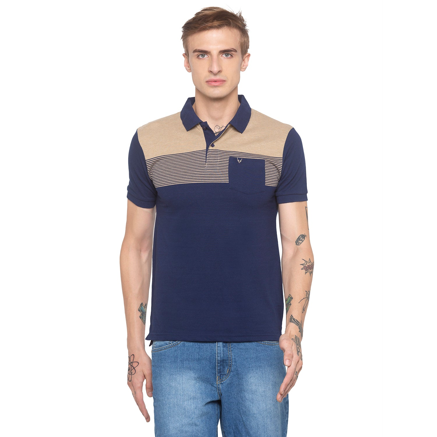Polo Collar Colorblock Navy T-shirt-1