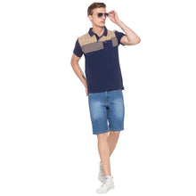 Load image into Gallery viewer, Polo Collar Colorblock Navy T-shirt-4