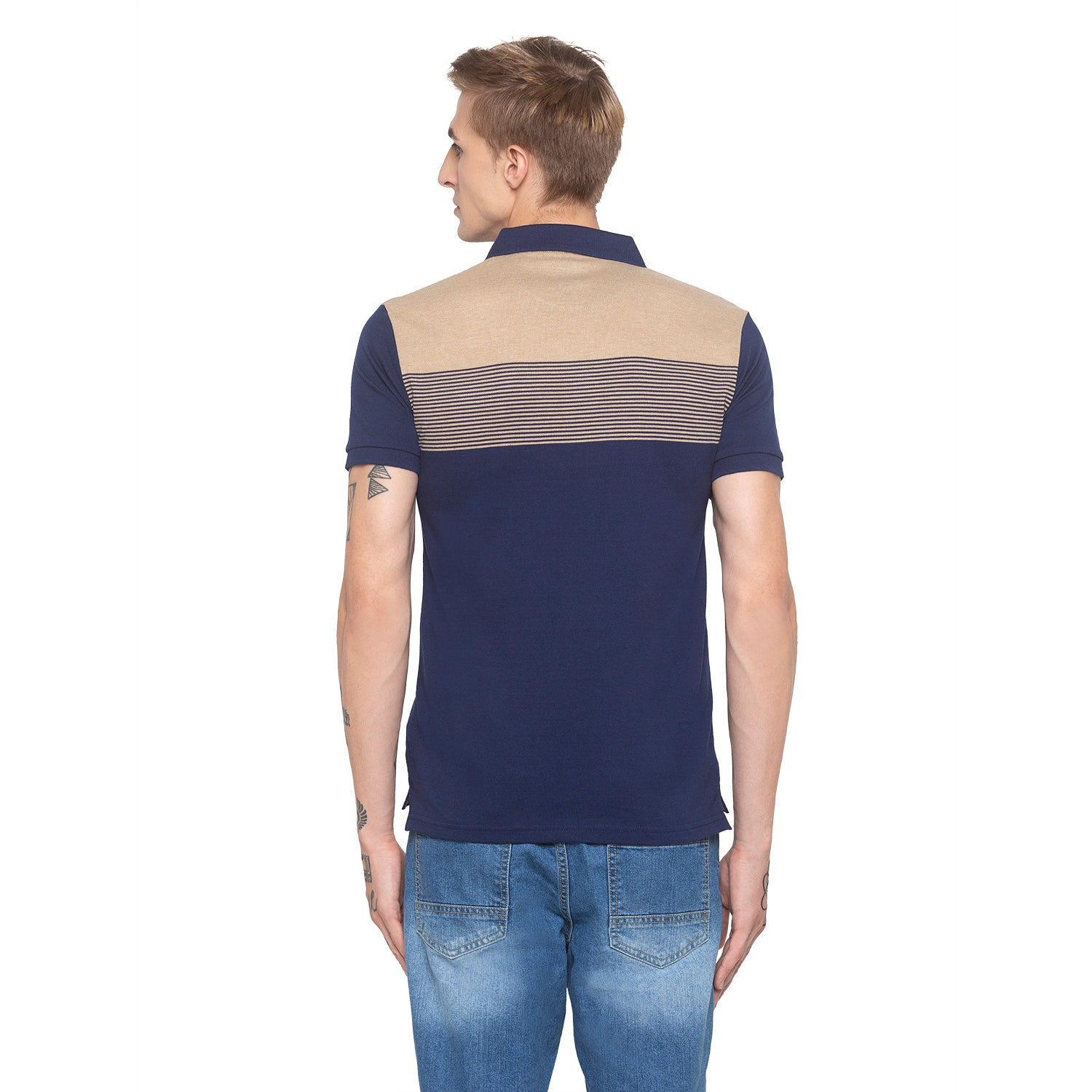 Polo Collar Colorblock Navy T-shirt-3