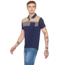 Load image into Gallery viewer, Polo Collar Colorblock Navy T-shirt-2