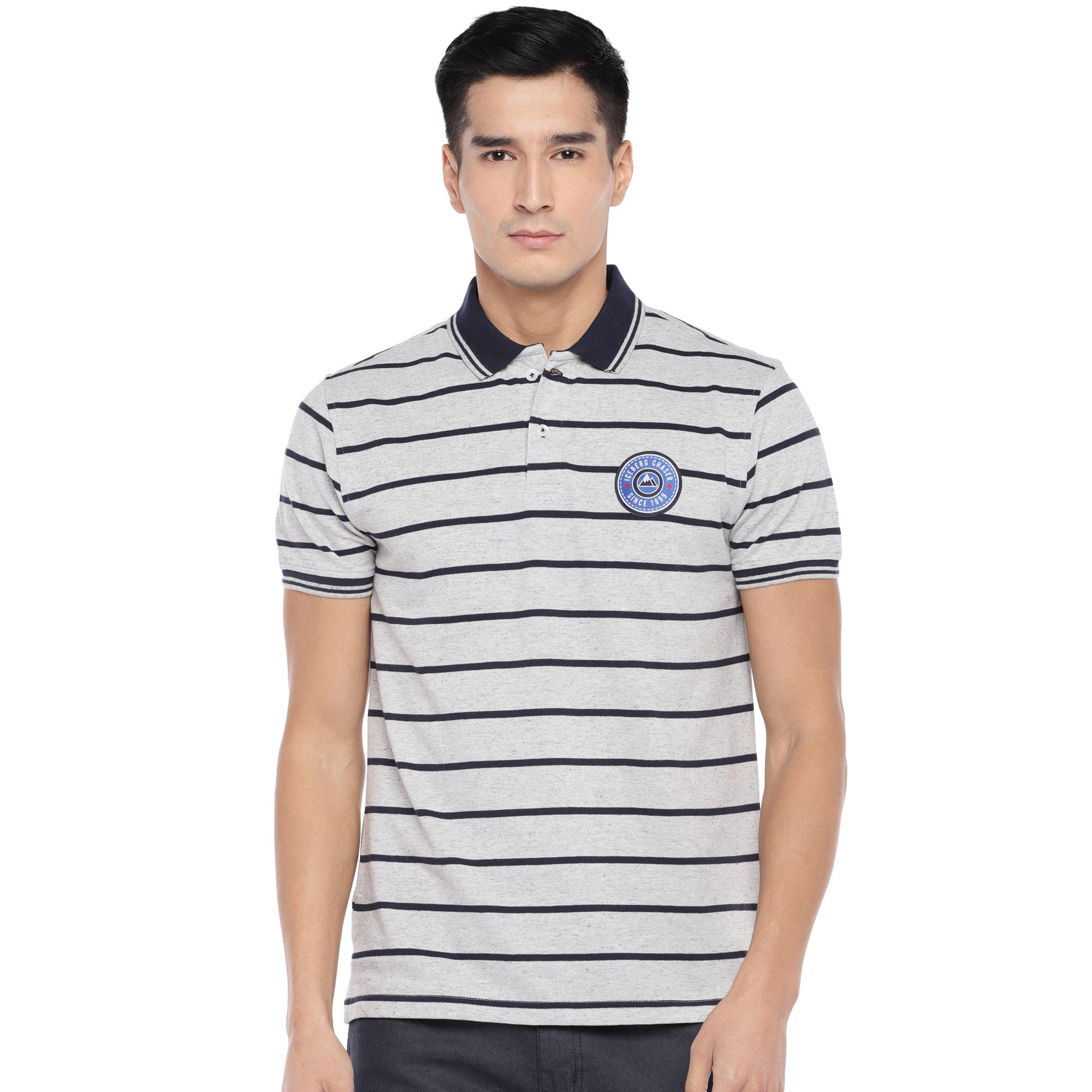 Grey Striped Polo T-Shirt-1