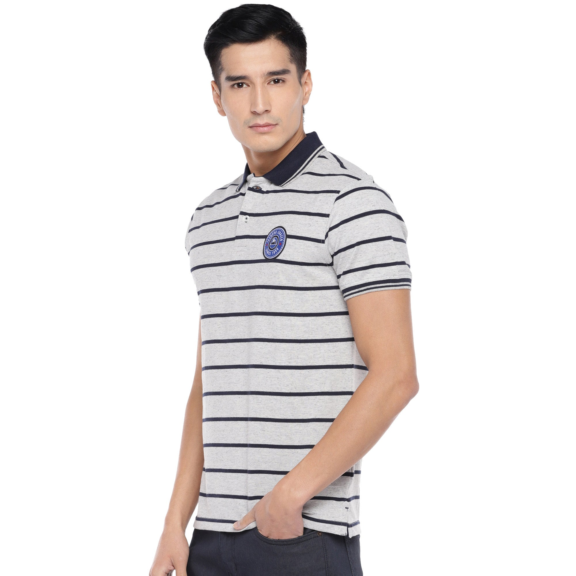 Grey Striped Polo T-Shirt-2