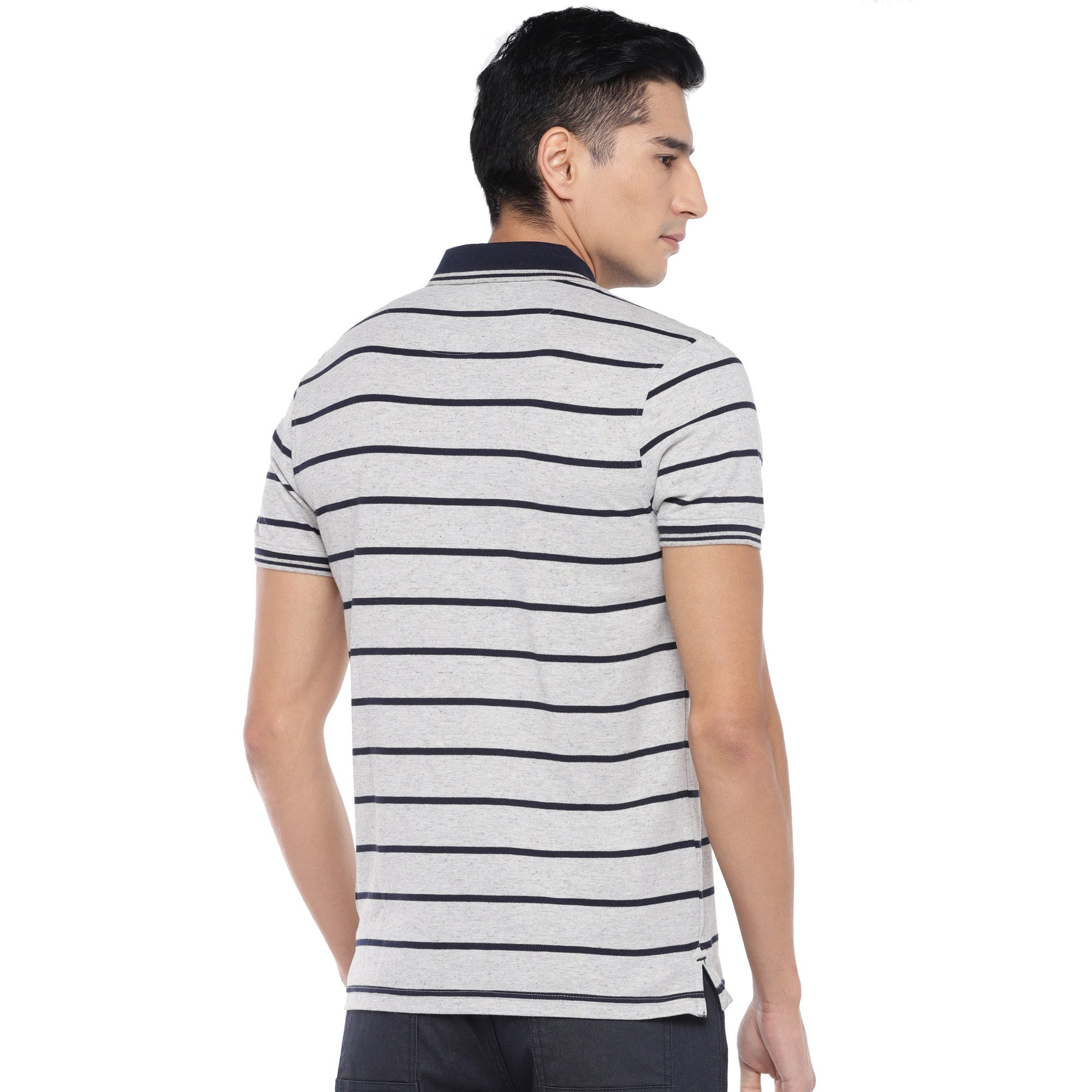 Grey Striped Polo T-Shirt-3