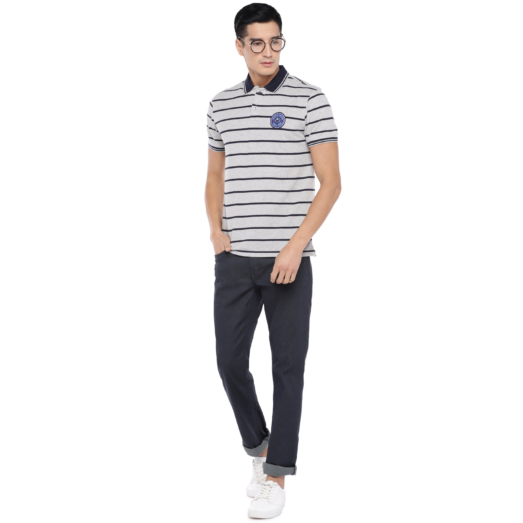 Grey Striped Polo T-Shirt-4