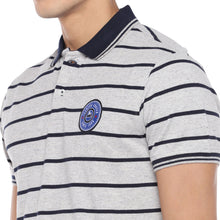 Load image into Gallery viewer, Grey Striped Polo T-Shirt-5