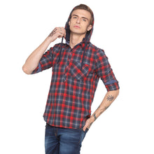 Load image into Gallery viewer, Tartan Check Hood Red Shirt-2