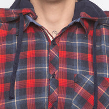 Load image into Gallery viewer, Tartan Check Hood Red Shirt-5