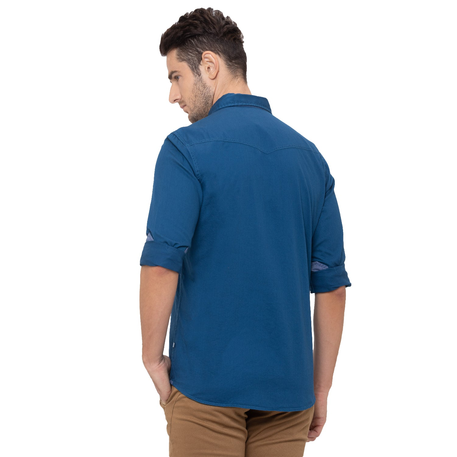 Globus Blue Solid Shirt-3