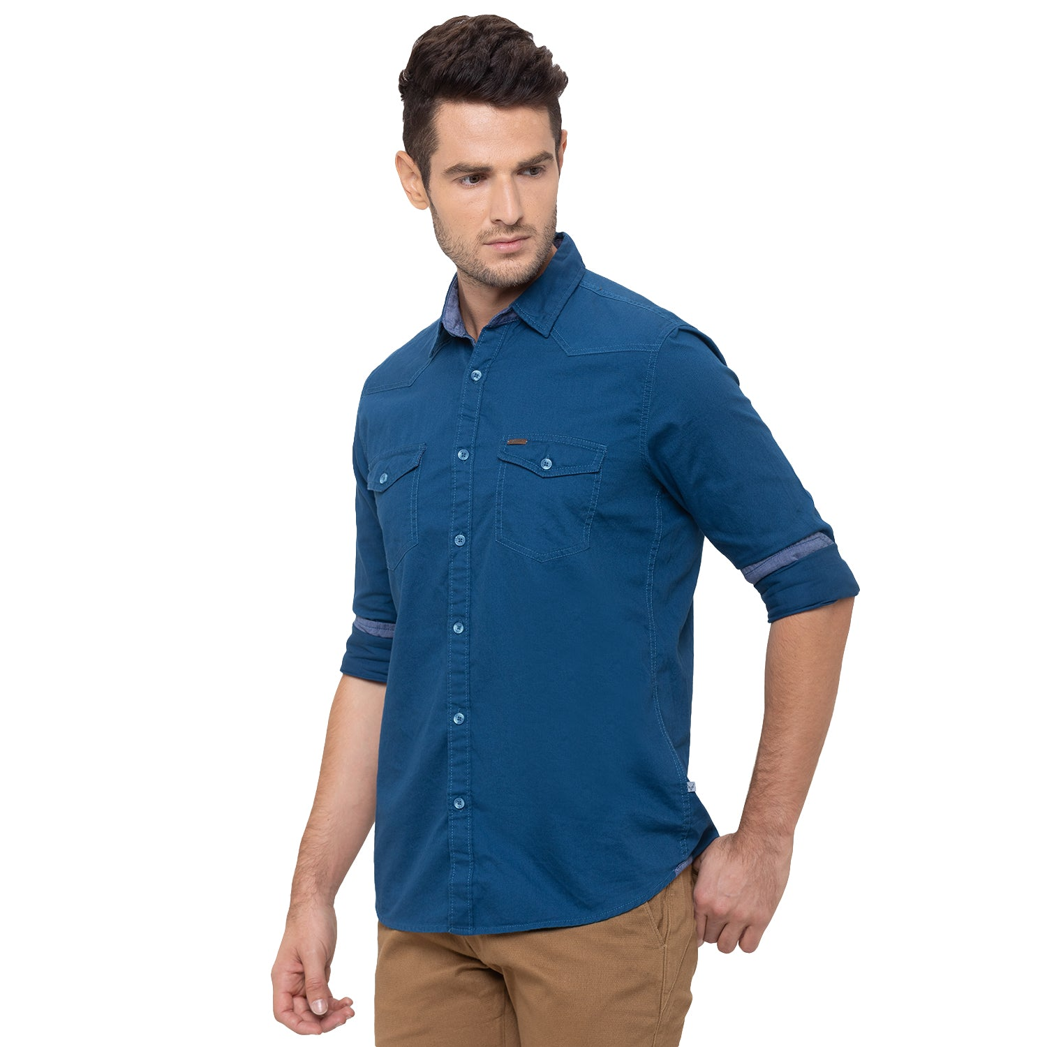 Globus Blue Solid Shirt-4