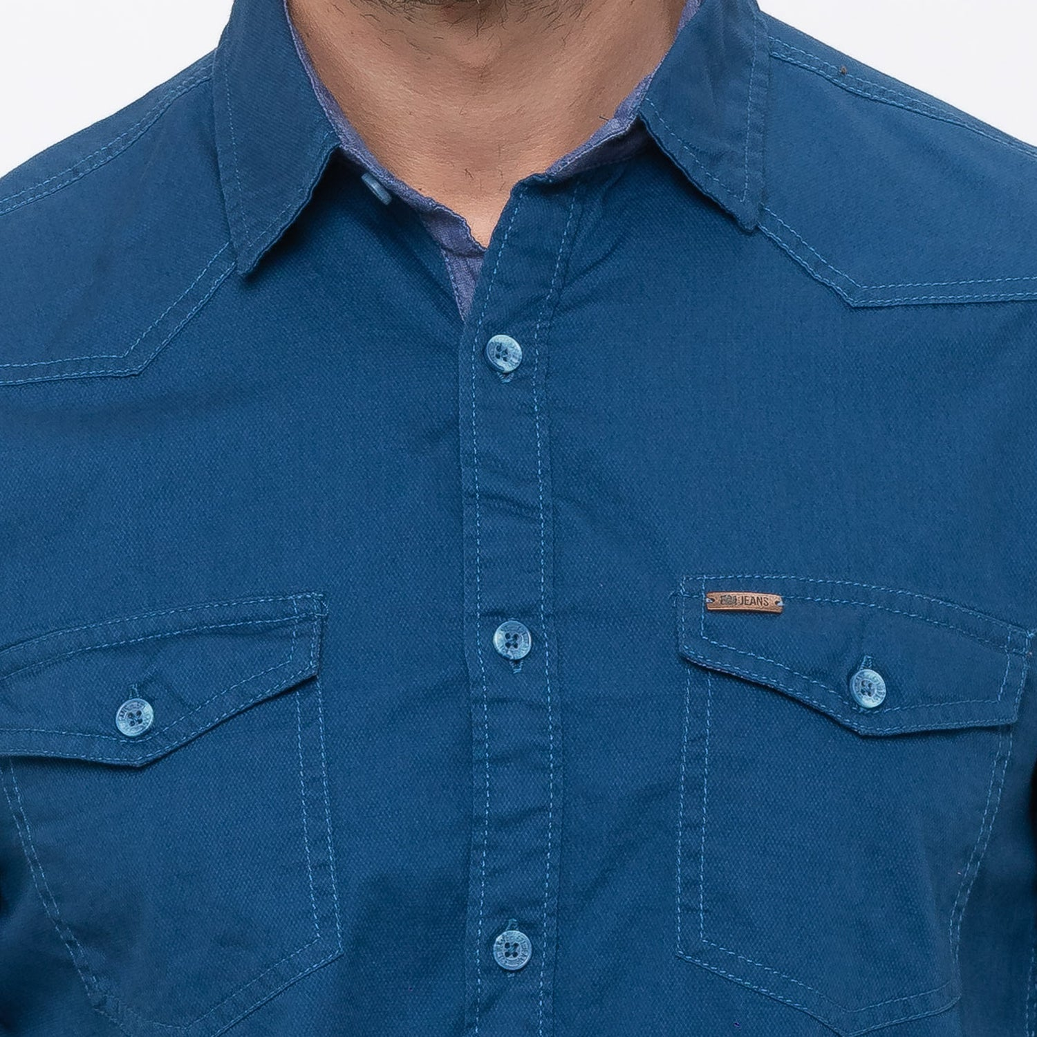 Globus Blue Solid Shirt-5