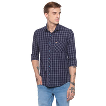 Load image into Gallery viewer, Blue Checked Slim Fit Shirt-1