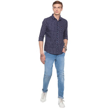 Load image into Gallery viewer, Blue Checked Slim Fit Shirt-4