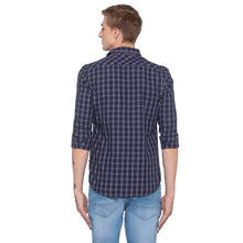Load image into Gallery viewer, Blue Checked Slim Fit Shirt-3