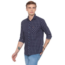 Load image into Gallery viewer, Blue Checked Slim Fit Shirt-2