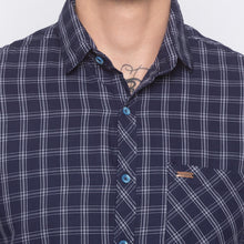 Load image into Gallery viewer, Blue Checked Slim Fit Shirt-5