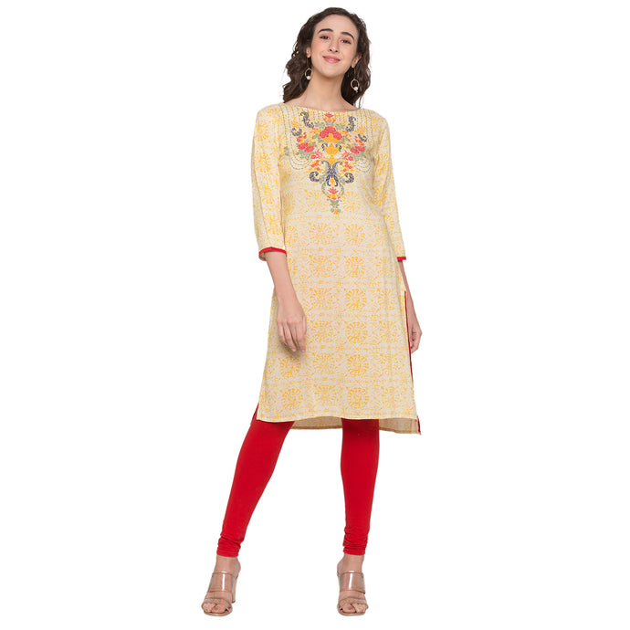 Globus Off White Printed Kurta1