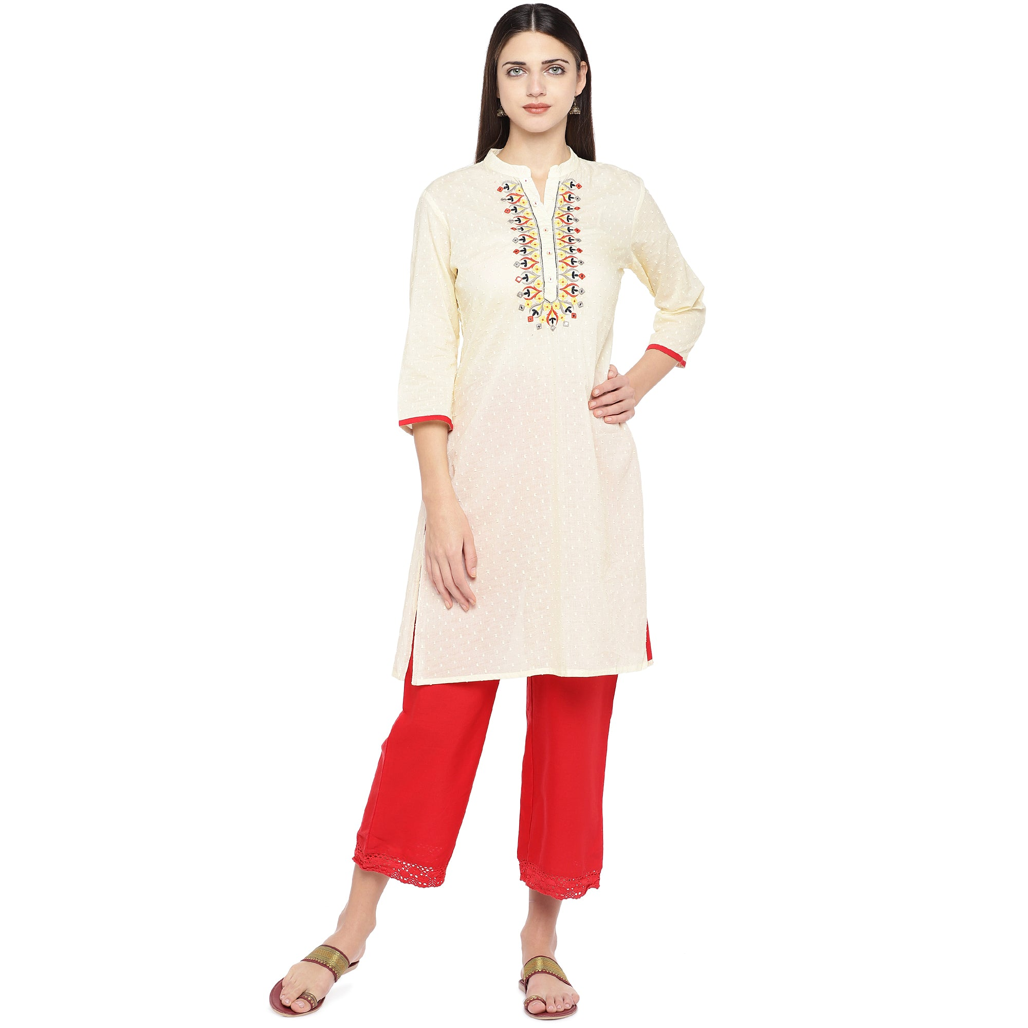 Off-White Embroidered A-Line Kurta-1