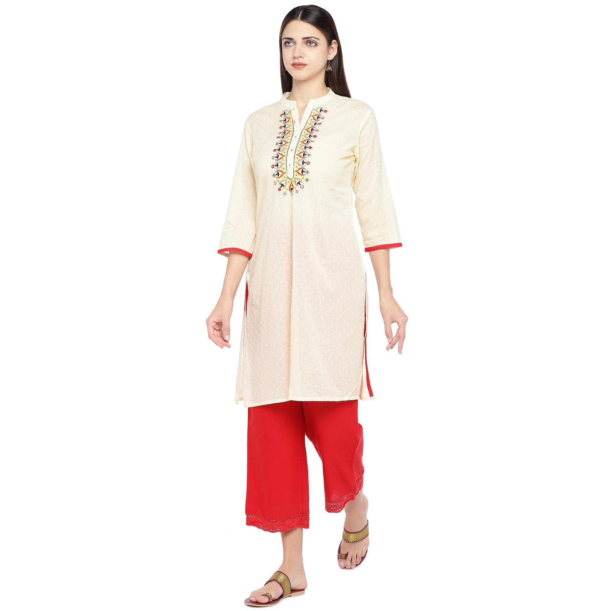 Off-White Embroidered A-Line Kurta-2