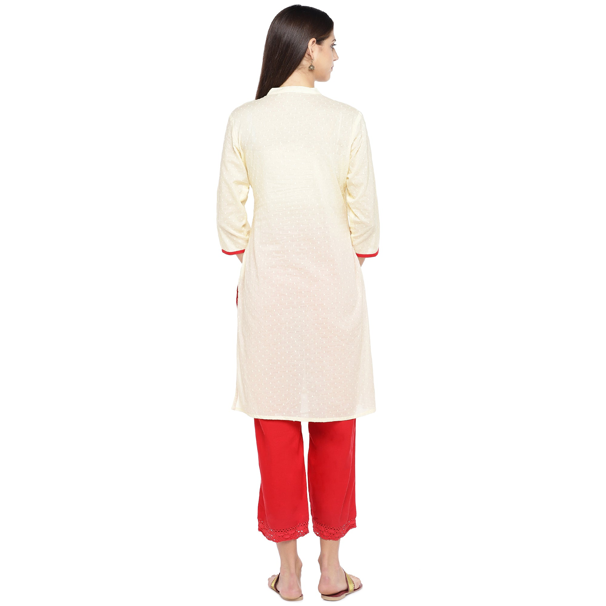 Off-White Embroidered A-Line Kurta-3
