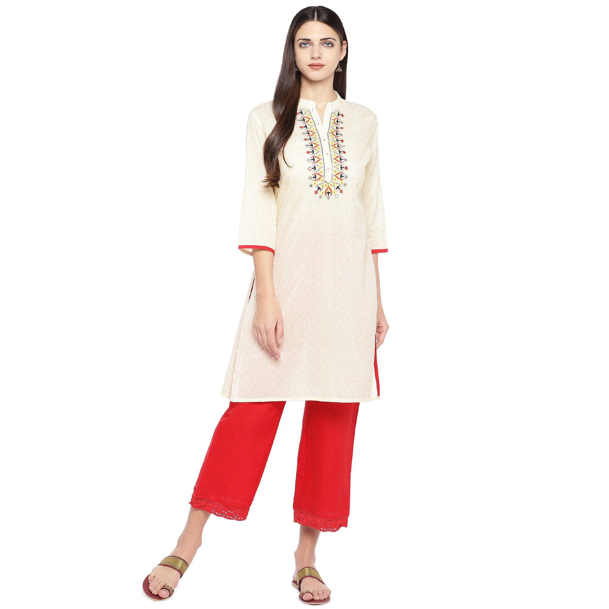 Off-White Embroidered A-Line Kurta-4