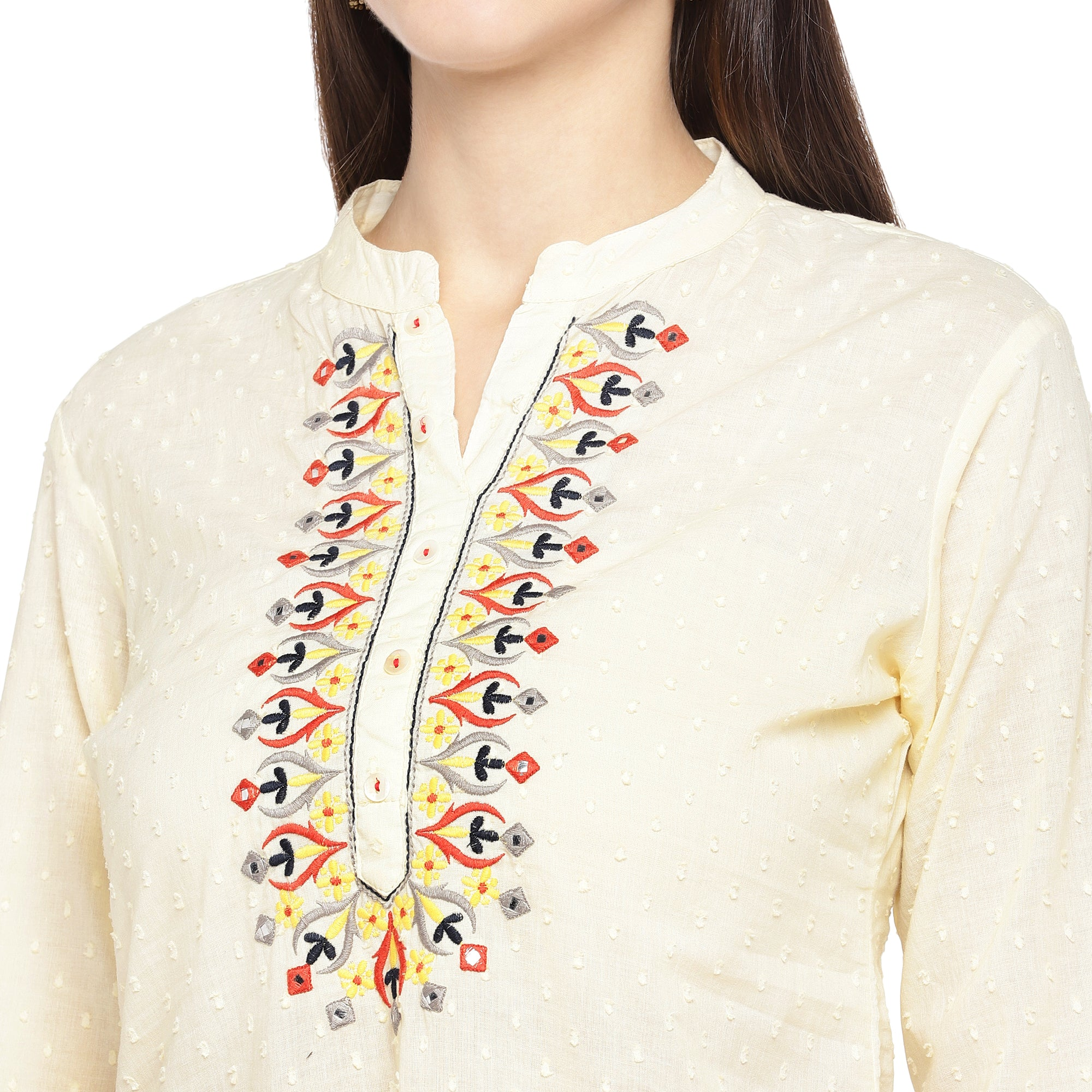 Off-White Embroidered A-Line Kurta-5