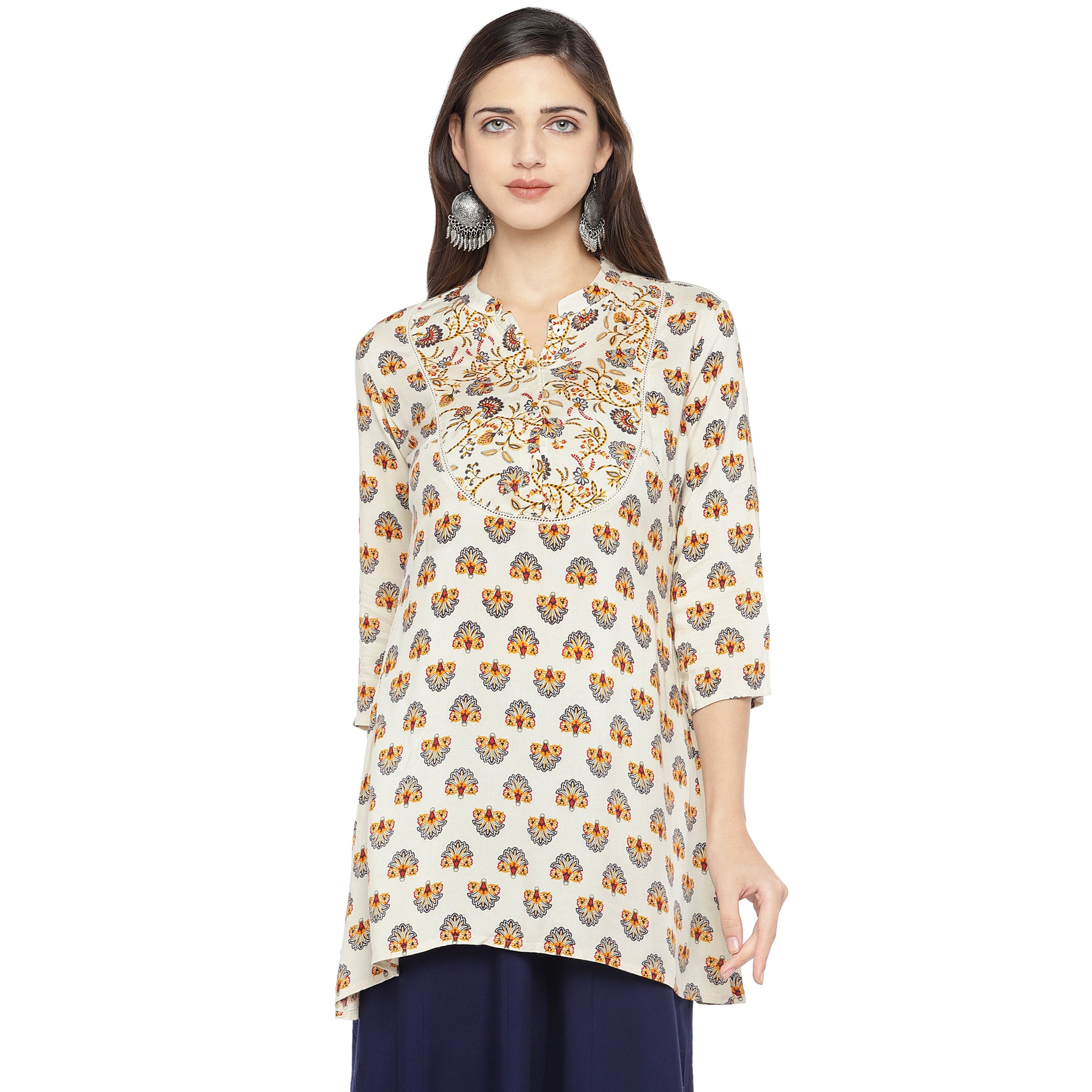 White & Yellow Printed A-Line Kurta-1