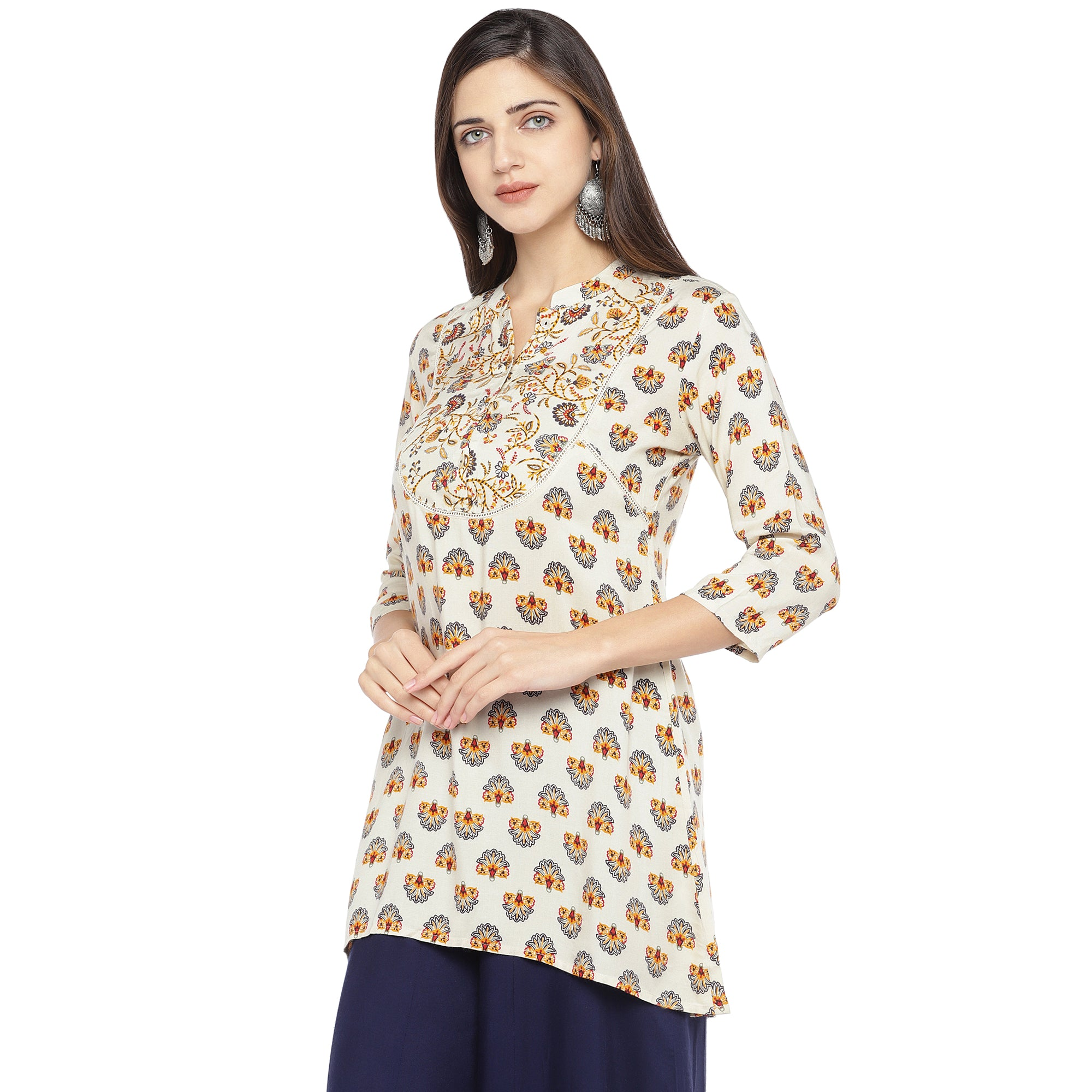 White & Yellow Printed A-Line Kurta-2