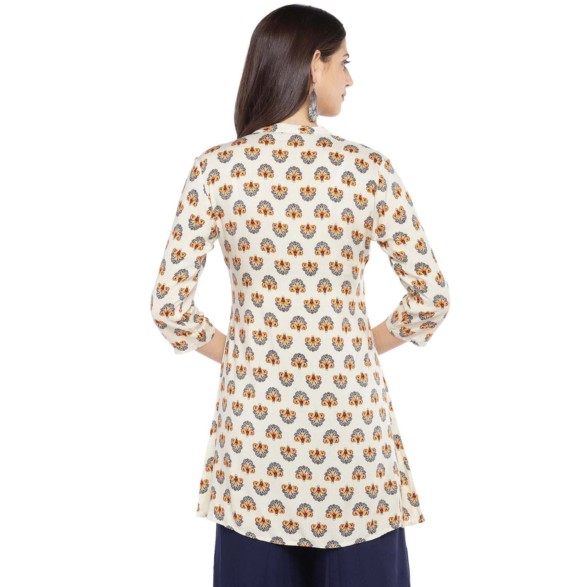 White & Yellow Printed A-Line Kurta-3