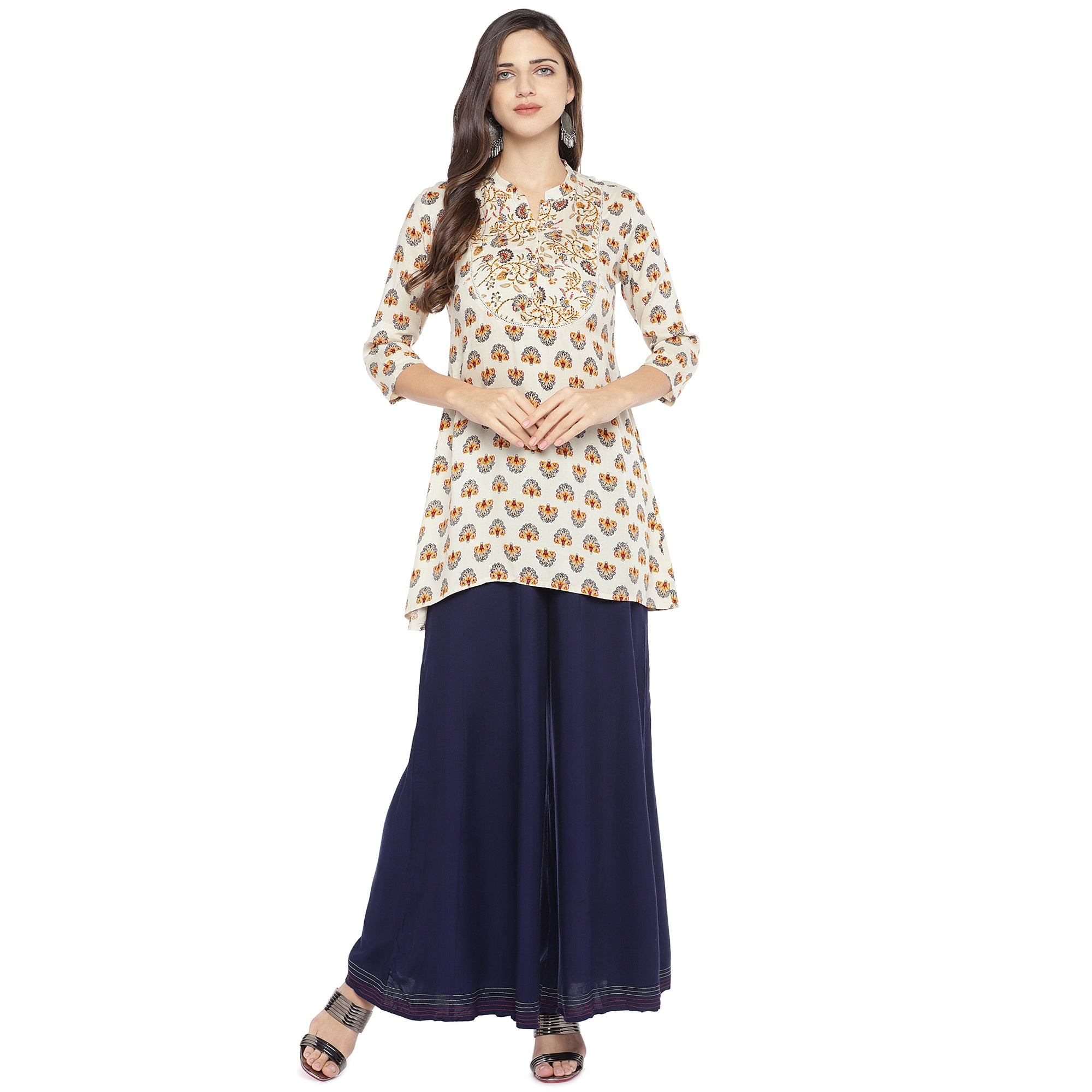 White & Yellow Printed A-Line Kurta-4